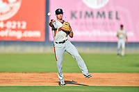 Aberdeen IronBirds shortstop Jordan Westburg (16) throws the ball to first base during a game against the Asheville Tourists on June 18, 2021 at McCormick Field in Asheville, NC. (Tony Farlow/Four Seam Images)