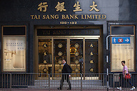 An exterior shot of the Tai Sang Bank, Central district, Hong Kong, China, 28 April 2014.