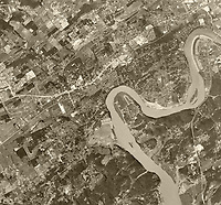 historical aerial photograph of Knoxville, Knox County, Tennessee, 1956