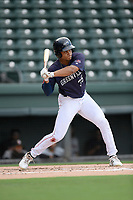 Third baseman Brandon Howlett (35) of the Greenville Drive bats in a game against the Delmarva Shorebirds on Friday, August 2, 2019, in the continuation of rain-shortened game begun August 1, at Fluor Field at the West End in Greenville, South Carolina. Delmarva won, 8-5. (Tom Priddy/Four Seam Images)