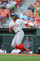Pawtucket Red Sox outfielder Tony Thomas (3) during a game against the Buffalo Bisons on August 4, 2013 at Coca-Cola Field in Buffalo, New York.  Pawtucket defeated Buffalo 8-1.  (Mike Janes/Four Seam Images)