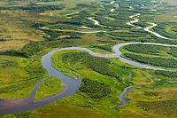 Winding creek near King Salmon on the Alaska Peninsula.
