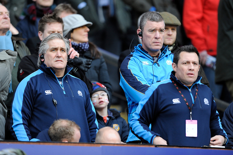 The new Scottish management team of Scott Johnson and Dean Ryan look on during the RBS 6 Nations match between England and Scotland at Twickenham on Saturday 02 February 2013 (Photo by Rob Munro)