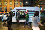 """© Joel Goodman - 07973 332324 . 17/12/2016 . Manchester , UK . A Welfare Unit vehicle , with medical facilities , parked on Deansgate Locks . Revellers out in Manchester City Centre overnight during """" Mad Friday """" , named for being one of the busiest nights of the year for the emergency services in the UK . Photo credit : Joel Goodman"""