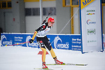 MARTELL-VAL MARTELLO, ITALY - FEBRUARY 02: HENNECKE Carolin (GER) crossing the finish line at the Women 7.5 km Sprint at the IBU Cup Biathlon 6 on February 02, 2013 in Martell-Val Martello, Italy. (Photo by Dirk Markgraf)