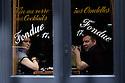 Paris, France. 09.05.2015. Two diners, Rue Mouffetarde, 5th arrondissement, Paris, France. Photograph © Jane Hobson.