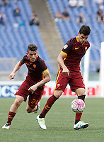 Calcio, Serie A: Lazio vs Roma. Roma, stadio Olimpico, 3 aprile 2016.<br /> Roma's Diego Perotti, right, and Alessandro Florenzi in action during the Italian Serie A football match between Lazio and Roma at Rome's Olympic stadium, 3 April 2016.<br /> UPDATE IMAGES PRESS/Isabella Bonotto
