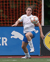Boston Breakers midfielder Heather O'Reilly (9) collects a pass. In a Women's Premier Soccer League Elite (WPSL) match, the Boston Breakers defeated New York Fury, 2-0, at Dilboy Stadium on June 23, 2012.
