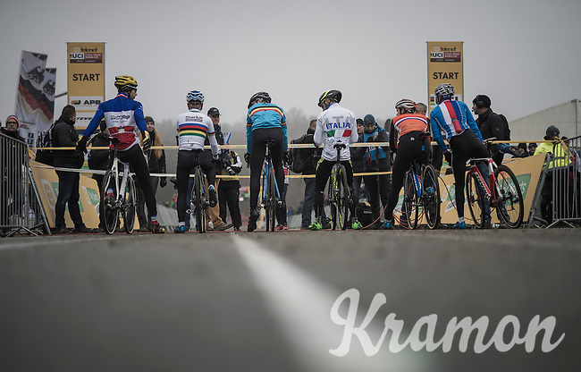 impressive jersey collection on the 1st start line<br /> <br /> 2016 CX UCI World Cup Zeven (DEU)