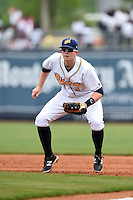 Montgomery Biscuits first baseman Cameron Seitzer (33) during a game against the Mississippi Braves on April 22, 2014 at Riverwalk Stadium in Montgomery, Alabama.  Mississippi defeated Montgomery 6-2.  (Mike Janes/Four Seam Images)