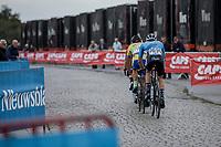 Breakaway group riding the cobbles.<br /> <br /> 103th Kampioenschap van Vlaanderen 2018 (UCI 1.1)<br /> Koolskamp – Koolskamp (186km)