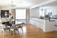 Open plan kitchen in white