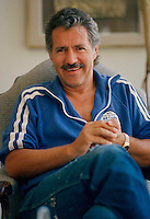 TV game show host Alex Trebek is photographed in his home on Mullholland Dr. in Los Angeles on July 7, 1988. Trebek is known for hosting the popular TV game show Jeopardy. (Photo by Alan Greth)