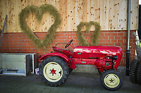 Switzerland. Canton Bern. Lenk. Private farmyard. An old red Posche Diesel tractor. Two hearts made with hay attached to the barn's wooden wall. The hearts were used for the wedding of the farm owner's son. Porsche-Diesel Super is a tractor that was manufactured by Porsche between 1956 and 1963. It is powered by an air-cooled, four-stroke, 2466 cc, three-cylinder diesel. Lenk im Simmental (or simply Lenk) is a municipality in the Obersimmental-Saanen administrative district.. 2.11.2020 © 2020 Didier Ruef