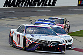 MARTINSVILLE, VIRGINIA - JUNE 10: Denny Hamlin, driver of the #11 FedEx Freight Toyota, leads a pack of cars during the NASCAR Cup Series Blue-Emu Maximum Pain Relief 500 at Martinsville Speedway on June 10, 2020 in Martinsville, Virginia. (Photo by Jared C. Tilton/Getty Images)
