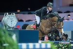 William Whitaker of United Kingdom riding on Utamaro D Ecaussines competes during the EEM Trophy, part of the Longines Masters of Hong Kong on 10 February 2017 at the Asia World Expo in Hong Kong, China. Photo by Juan Serrano / Power Sport Images