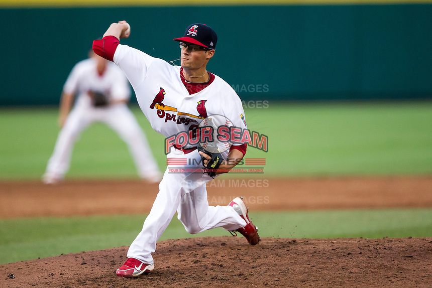 Joe Kelly (22) of the Springfield Cardinals delivers a pitch during a game against the Northwest Arkansas Naturals at Hammons Field on July 31, 2011 in Springfield, Missouri. Northwest Arkansas defeated Springfield 9-1. (David Welker / Four Seam Images)