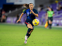 ORLANDO, FL - FEBRUARY 24: Sophia Smith #17 of the USWNT sprints during a game between Argentina and USWNT at Exploria Stadium on February 24, 2021 in Orlando, Florida.
