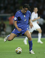 Italian forward (9) Luca Toni takes a shot.  Italy defeated France on penalty kicks after leaving the score tied, 1-1, in regulation time in the FIFA World Cup final match at Olympic Stadium in Berlin, Germany, July 9, 2006.