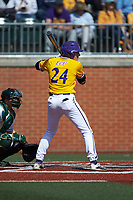 Ben Newton (24) of the East Carolina Pirates at bat against the Charlotte 49ers at Hayes Stadium on March 8, 2020 in Charlotte, North Carolina. The Pirates defeated the 49ers 4-1. (Brian Westerholt/Four Seam Images)
