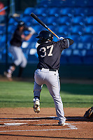 Missoula Osprey Tristen Carranza (37) at bat during a Pioneer League game against the Great Falls Voyagers at Centene Stadium at Legion Park on August 19, 2019 in Great Falls, Montana. Missoula defeated Great Falls 4-1 in the first game of a doubleheader. Games were moved from Missoula after Ogren Park at Allegiance Field, the Osprey's home field, was ruled unplayable. (Zachary Lucy/Four Seam Images)