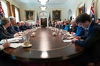 President Donald J. Trump participates in an expanded bilateral meeting with Australian Prime Minister Scott Morrison Friday, Sept. 20, 2019, in the Cabinet Room of the White House. (Official White House Photo by Shealah Craighead)