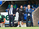 St Johnstone v FC Spartak Trnava...31.07.14  Europa League 3rd Round Qualifier<br /> Juraj Jarabek and Tommy Wright look on<br /> Picture by Graeme Hart.<br /> Copyright Perthshire Picture Agency<br /> Tel: 01738 623350  Mobile: 07990 594431