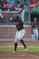 Great Falls Voyagers designated hitter Maiker Feliz (7) at bat during a Pioneer League game against the Idaho Falls Chukars at Melaleuca Field on August 18, 2018 in Idaho Falls, Idaho. The Idaho Falls Chukars defeated the Great Falls Voyagers by a score of 6-5. (Zachary Lucy/Four Seam Images)
