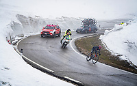 Egan Bernal (COL/Ineos Grenadiers) descending from the Passo Giau<br /> <br /> due to the bad weather conditions the stage was shortened (on the raceday) to 153km and the Passo Giau became this years Cima Coppi (highest point of the Giro).<br /> <br /> 104th Giro d'Italia 2021 (2.UWT)<br /> Stage 16 from Sacile to Cortina d'Ampezzo (shortened from 212km to 153km)<br /> <br /> ©kramon