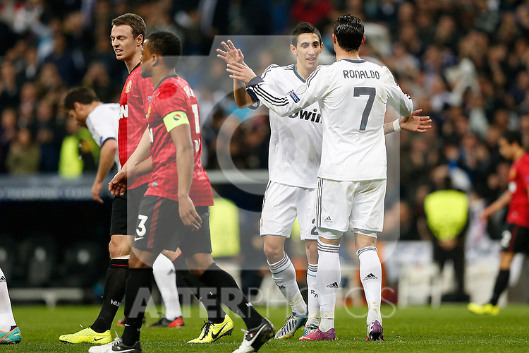 Real Madrid's Angel Di Maria and Cristiano Ronaldo celebrate goal during Champions League 2012/2013 match.February 12,2013. (ALTERPHOTOS/Alfaqui/Cesar Cebolla)