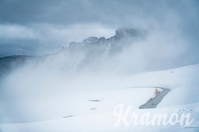 the Passo Giau<br /> <br /> due to the bad weather conditions the stage was shortened (on the raceday) to 153km and the Passo Giau became this years Cima Coppi (highest point of the Giro).<br /> <br /> 104th Giro d'Italia 2021 (2.UWT)<br /> Stage 16 from Sacile to Cortina d'Ampezzo (shortened from 212km to 153km)<br /> <br /> ©kramon