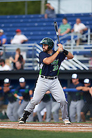 Vermont Lake Monsters catcher Nick Collins (20) at bat during a game against the Batavia Muckdogs August 9, 2015 at Dwyer Stadium in Batavia, New York.  Vermont defeated Batavia 11-5.  (Mike Janes/Four Seam Images)