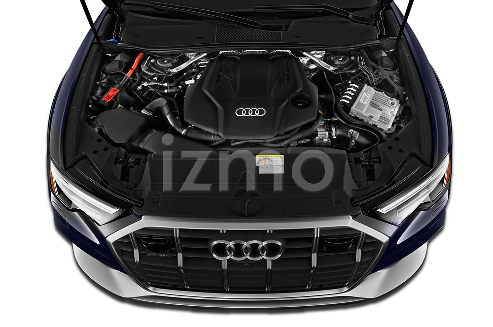 High angle engine detail of a 2021 Audi A6 Allroad Premium Plus 5 Door Wagon