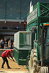 HOT SPRINGS, AR - MARCH 19: Oaklawn staff, racking the dirt away from the starting gate prior to the start of the 3rd race at Oaklawn Park on March 19, 2016 in Hot Springs, Arkansas. (Photo by Justin Manning/Eclipse Sportswire/Getty Images)