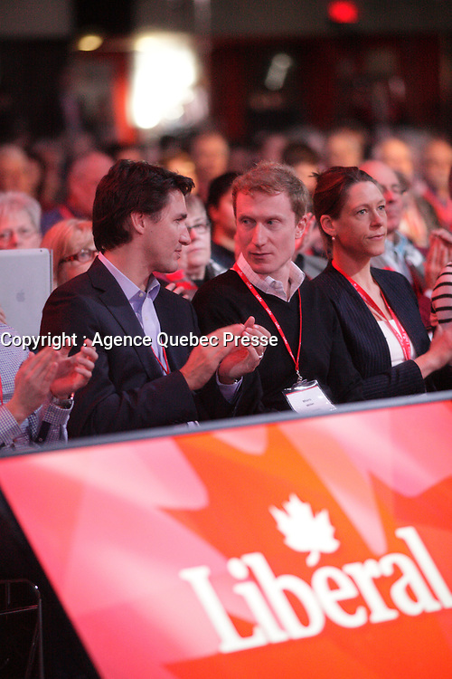 April 22 , 2014 -  Justin Trudeau,Leader,  Liberal Party of Canada, at the 2014 Biennial Convention in Montreal. <br /> <br /> Justin Trudeau, chef du Parti liberal du Canada lors du  Congres biennal liberal a Montreal,  samedi le 22  fevrier 2014.<br /> <br /> Photo : (c) Pierre Roussel - Images Distribution