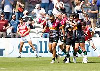 29th May 2021; Twickenham Stoop, London, England; English Premiership Rugby, Harlequins versus Bath; Danny Care of Harlequins and Marcus Smith of Harlequins celebrating Cares try