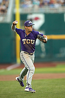 TCU Horned Frogs third baseman Derek Odell (5) makes a throw to first base against the Vanderbilt Commodores in Game 12 of the NCAA College World Series on June 19, 2015 at TD Ameritrade Park in Omaha, Nebraska. The Commodores defeated TCU 7-1. (Andrew Woolley/Four Seam Images)
