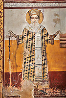 Pictures & images of the Byzantine fresco panels in the Gelati Georgian Orthodox Church of the Virgin, 1106, depicting saints.  The medieval Gelati monastic complex near Kutaisi in the Imereti region of western Georgia (country). A UNESCO World Heritage Site.