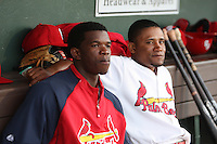 Palm Beach Cardinals infielder Starlin Rodriguez and catcher Luis De La Cruz in the dugout during a game against the Fort Myers Miracle at Roger Dean Stadium on May 1, 2012 in Jupiter, Florida.  Palm Beach defeated Fort Myers 9-3.  (Mike Janes/Four Seam Images)