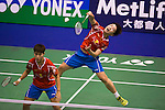 Li Yinhui (r) and HUANG Dongping of China in action while playing against CHIANG Kai Hsin and HUNG Shih Han of Chinese Taipei during the YONEX-SUNRISE Hong Kong Open Badminton Championships 2016 at the Hong Kong Coliseum on 23 November 2016 in Hong Kong, China. Photo by Marcio Rodrigo Machado / Power Sport Images