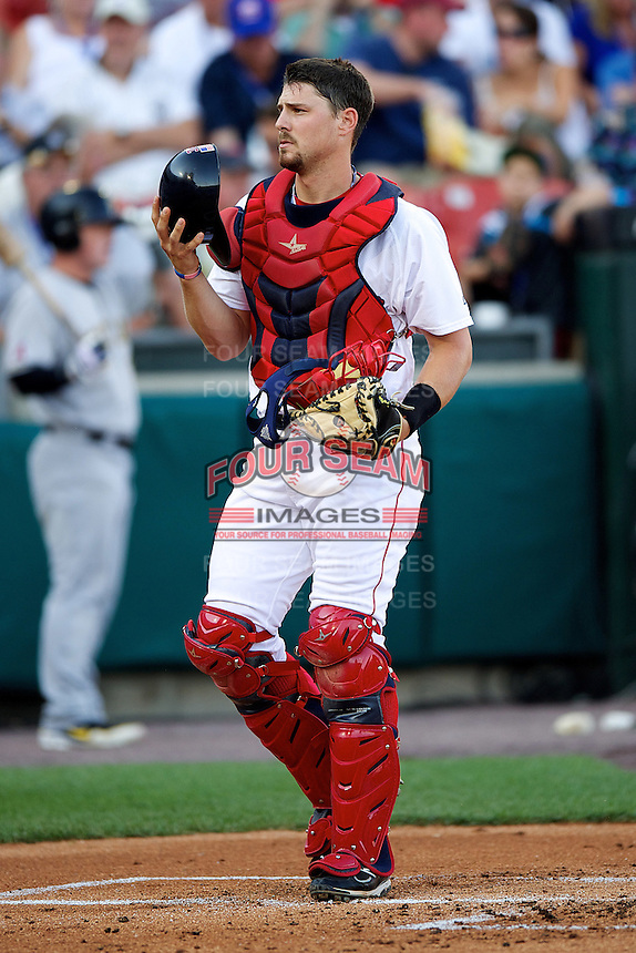 Pawtucket Red Sox catcher Ryan Lavarnway #36 during the Triple-A All-Star game featuring the Pacific Coast League and International League top players at Coca-Cola Field on July 11, 2012 in Buffalo, New York.  PCL defeated the IL 3-0.  (Mike Janes/Four Seam Images)