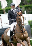 Spain's jockey Luis Plaza-Vidal with the horse Mr Cawley during 102 International Show Jumping Horse Riding, King's College Trophy. May, 20, 2012. (ALTERPHOTOS/Acero)