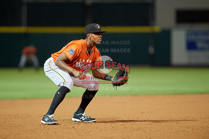 Bradenton Marauders third baseman Ke'Bryan Hayes (26) during the Florida State League All-Star Game on June 17, 2017 at Joker Marchant Stadium in Lakeland, Florida.  FSL North All-Stars defeated the FSL South All-Stars  5-2.  (Mike Janes/Four Seam Images)