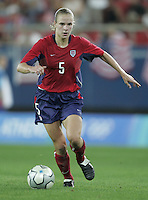26 August 2004:  Lindsay Tarpley in action during the Gold Medal game against Brazil at Karaiskaki Stadium in Athens, Greece.   USA defeated Brazil, 2-1 in overtime.   Credit: Michael Pimentel / ISI.