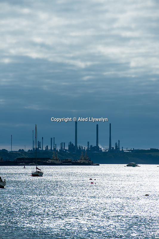 Saturday 29 April 2017 View of Pembroke Oil refinery from the village of Pembroke Ferry, Wales, UK
