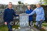 Mary O'Neill from Malahide, Dublin at the grave in the Abbey Cemetry in Milltown of her grandfather, RIC Sergeant James Collery was killed in the Ballymacandy Ambush on June 1, 1921 with Dermot Cotter, whose grandfather Jerry O'Connor was the IRA man who threw the grenade that killed him. L to r: Dermot Cotter, Harry and Mary O'Neill