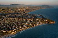 aerial photograph of the Ritz Carlton Laguna Niguel, foreground Dana Point in the middleground right, Orange County, California