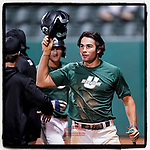 Noah Rabon (17) of the University of South Carolina Upstate Spartans Green team scores the first run in sixth inning of the Green and Black Fall World Series Game 4 on Wednesday, November 4, 2020, at Cleveland S. Harley Park in Spartanburg, South Carolina. Green won, 8-0. (Tom Priddy/Four Seam Images)