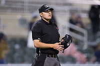 Home plate umpire Mike Rain during the South Atlantic League game between the Lakewood BlueClaws and the Kannapolis Intimidators at Kannapolis Intimidators Stadium on April 6, 2017 in Kannapolis, North Carolina.  The BlueClaws defeated the Intimidators 7-5.  (Brian Westerholt/Four Seam Images)