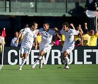 Pasadena, CA - June 25, 2011: Landon Donovan celebrates his goal  vs Mexico in the 2011 CONCACAF Gold Cup Championships, at the Rose Bowl. Mexico won 4-2.